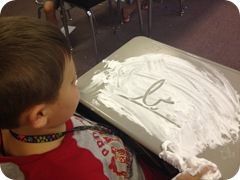 cursive review for beginning of year....using shaving cream on desks then make a cursive monster