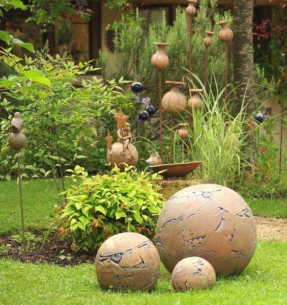 Boule ceramique pour jardin puit deco jardin   Maison email