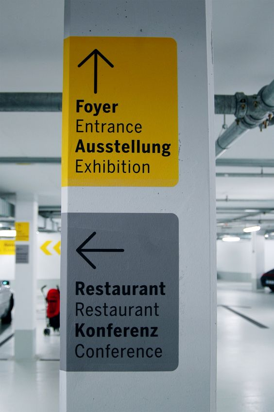 Signage In The Garage Of The Porsche Museum In Stuttgart
