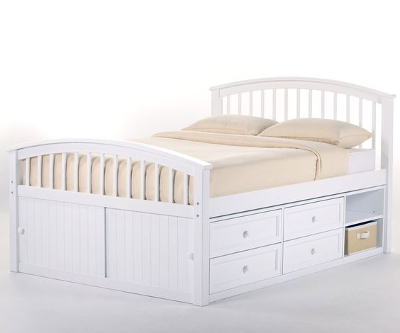 Buy our Schoolhouse White Full size Captains Bed by NE Kids with built-in storage drawers ★ Schoolhouse 7075 double captain Beds are available in White with drawers