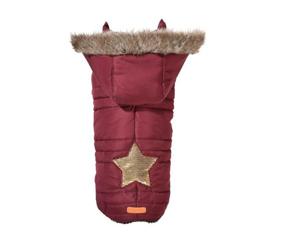 Sporty Dog Coat With Faux Fur Trim Hoodie Read More