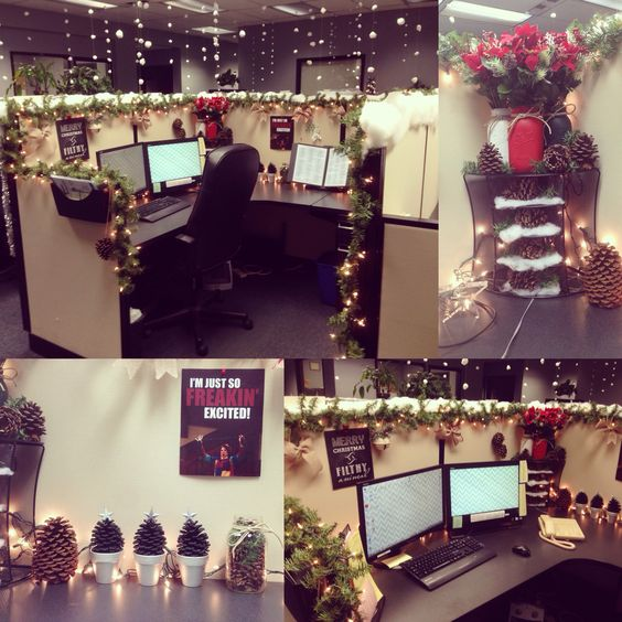 Cubicles christmas and offices on pinterest for Cubicle decoration xmas
