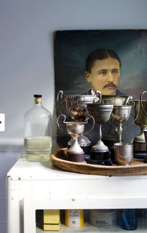 antique trophy grouping