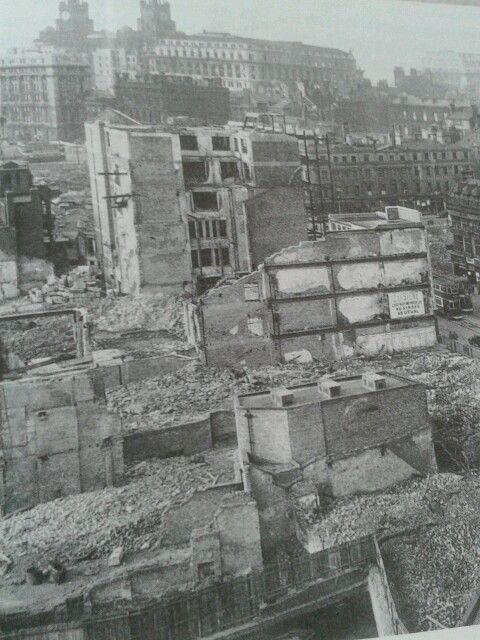 Bomb damage to Liverpool after German firebombing night raids.