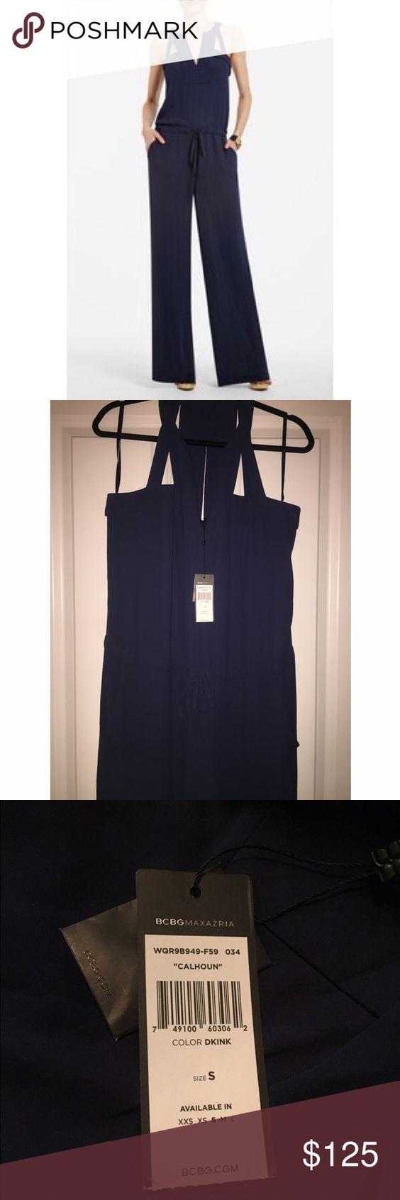"BCBG ""Calhoun"" Navy Jumpsuit BCBG ""Calhoun"" wide leg jumpsuit -- navy blue -- size small -- new with tags, never worn ❄️no trades❄️ BCBG Pants Jumpsuits & Rompers"
