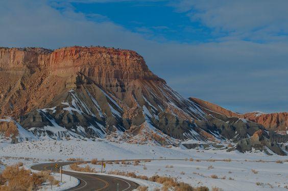 Winding Road, Grey Talus Slopes, San Rafael Swell, Utah