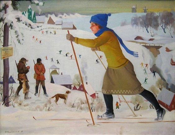Дормидонтов Н.И. Лыжница. 1920-е.