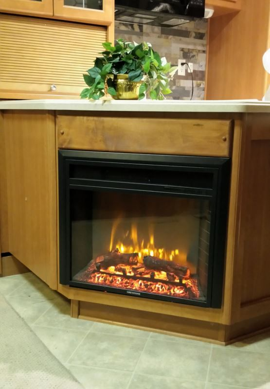 Greystone 23 Electric Fireplace With Logs Recessed Mount