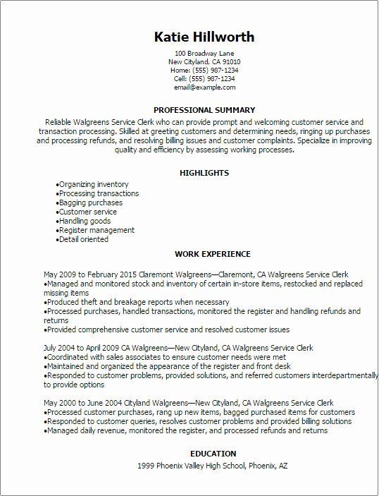 Customer Service Associate Resume Unique Walgreens Service Clerk Resume Template Best Design