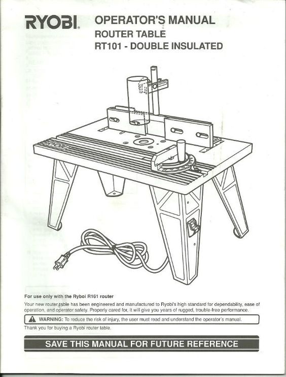 Operator S Manual Ryobi Rt101 Router Table Pn 983000 134 8 02 Paperback Listing In