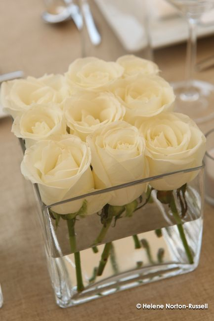 The perfect wedding centerpiece -- Dollar Store square vases with 9 white roses each, maybe we could add some colored glass beads into the bottom of the vase.