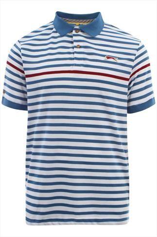 White & Blue Slazenger Vintage Short Sleeve  Polo Top