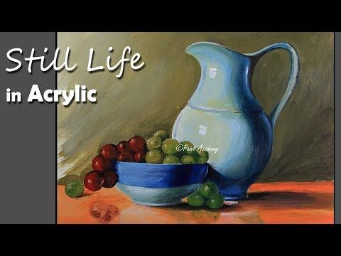 Realistic Still Life In Acrylic Jug Dish Fruits Painting Step