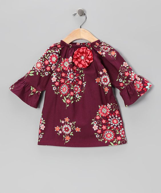 Burgundy Floral Peasant Dress - Infant, Toddler & Girls