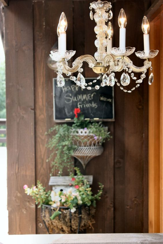 Backyard chandelier and chalkboard