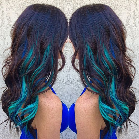 Brown Hair WIth Blue and Turquoise Streaks...if I were to ever dye my hair crazy this is what I'd do.
