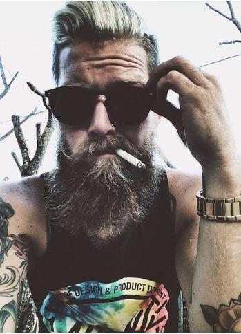 Stache and beard combo