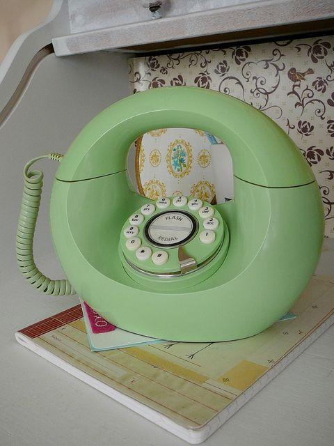 vintage green telephone:
