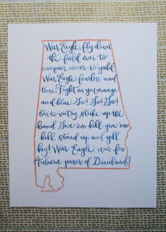 Auburn fight song print
