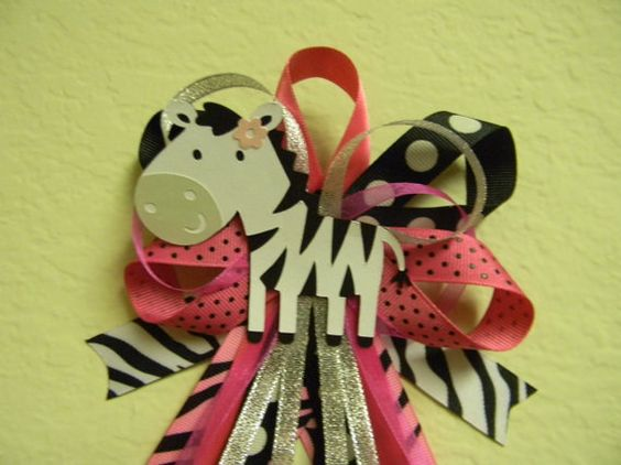 Hot Pink ZEBRA baby shower pin/corsage by diapercake4less on Etsy, $12.00