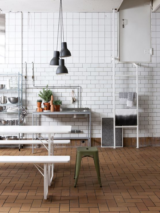 Easy to do, industrial style kitchen; white subway and 4x4 or 6x6 ...