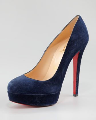 Bianca Suede Platform Red Sole Pump by Christian Louboutin at Neiman Marcus.