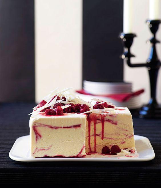 White chocolate and raspberry-ripple ice-cream cake recipe from Gourmet Traveller