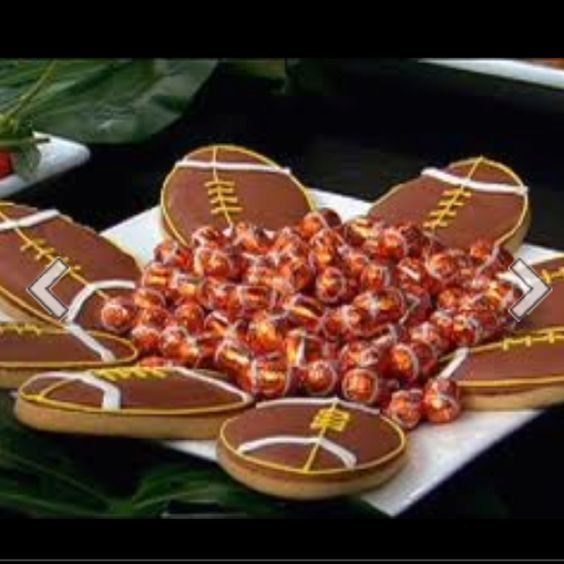 Football cookies and candies