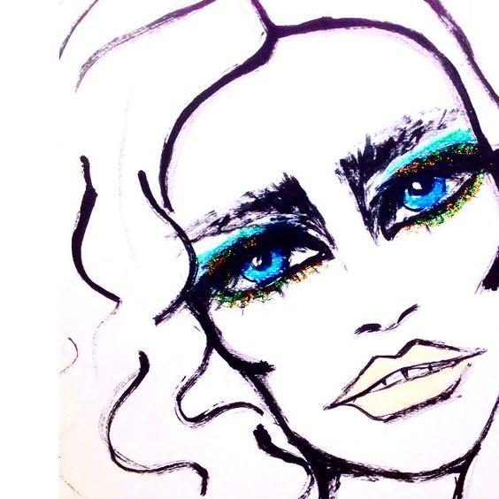 Glitter ✨ #makeup #inspiration #fashion #fashionillustration #eyeliner #hair #art #illustration #sketch #drawing #blueeyes @beautyisboring_ @sisleyparisusa @bobbyeliot