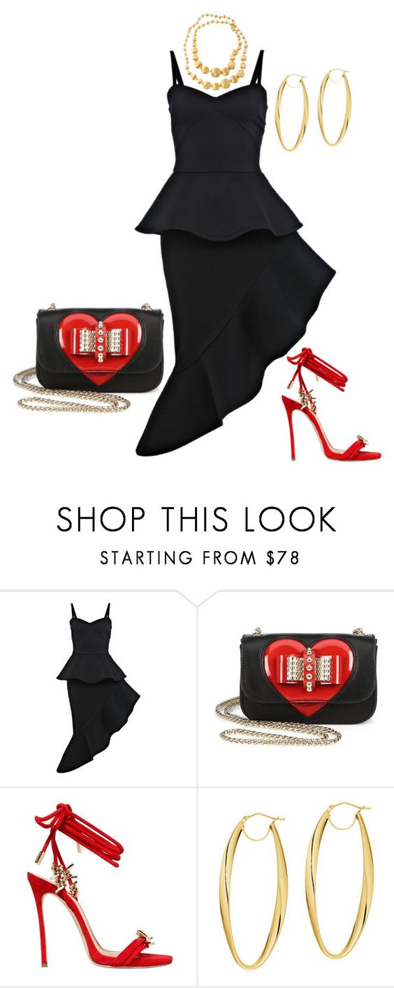 """Ruffles (OUTFIT ONLY)"" by andreaaitken ❤ liked on Polyvore featuring Miss Selfridge, Christian Louboutin, Dsquared2, BillyTheTree and Marco Bicego"