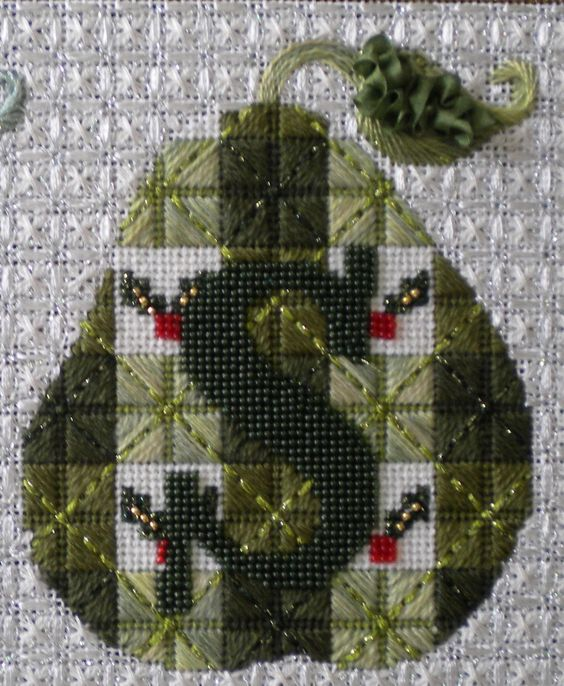 needlepoint pear with initial