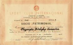 Brazil, Sport Club Internacional Porto Alegre, Titulo de Socio Patrimonial, 1966
