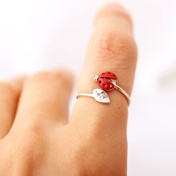 $15 - ladybug with leaf ring adjustable, 3 colors girlsluvit.com