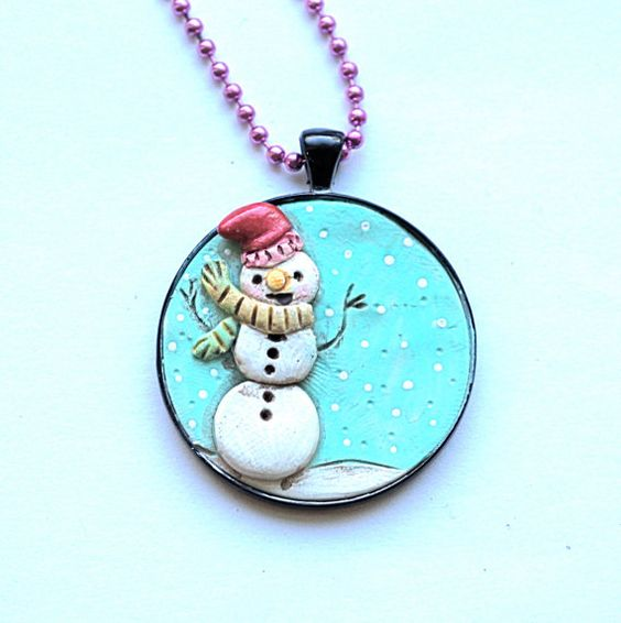 Original Snowman Folk Art Necklace Snowflakes in Antique Bronze Bezel setting