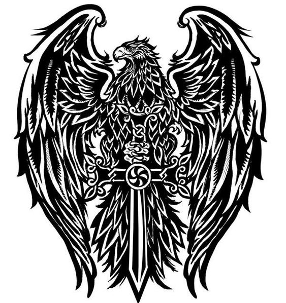 sick eagle tattoo design but instead of a sword id use a fluer di les to represent my eagle. Black Bedroom Furniture Sets. Home Design Ideas