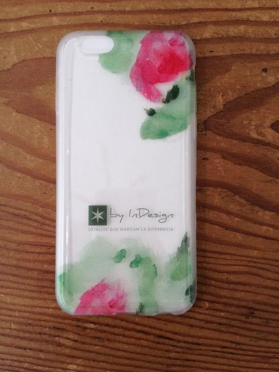 Funda de móvil verde y rosa #phonecase #watercolor #wedding #weddingstationery #boda #papeleríadeboda