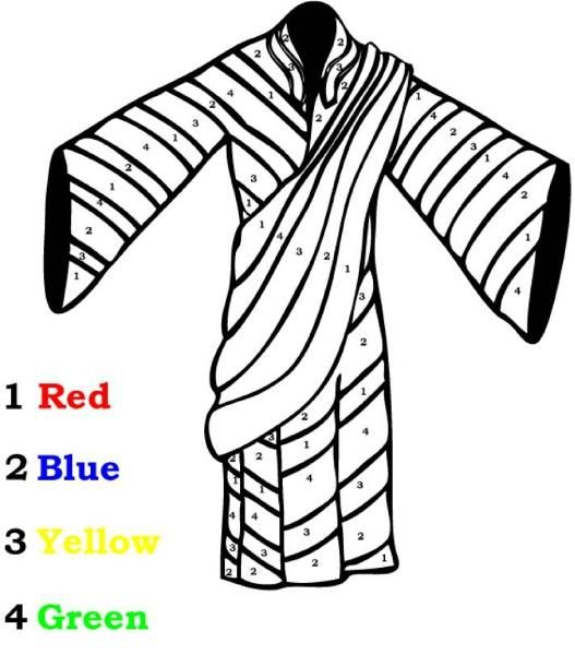 Joseph's Coat coloring sheet. | Sunday school coloring pages ... | 610x527