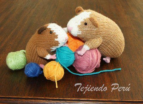 Como tejer un cuy o guinea pig en dos agujas o palitos! (knitted guinea pig t...
