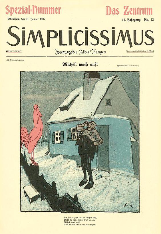 [1907, Jan 21] Michel, wake up! (Michel, wach auf!), Wilhelm Schulz cover of Simplicissimus 43, Vol. 11, p.685
