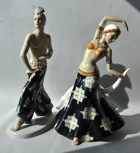 1925 Ceramic Figures C I A Manna Torino In Lenci Style