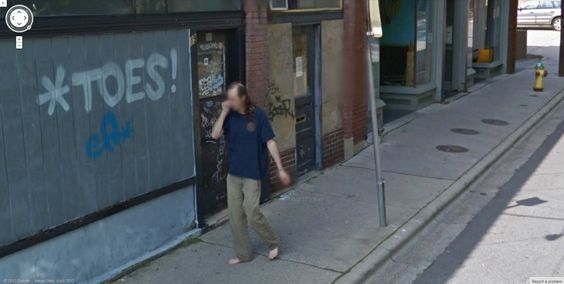 Is this a coincidence?  Google Street View captures some bare toes, right beside the toe sign.