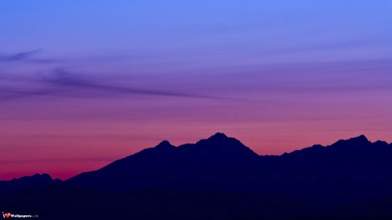 Would be a great beginner painting. Solid colored mountain in distance. Pink Purple Sky [Nature Collection 298]
