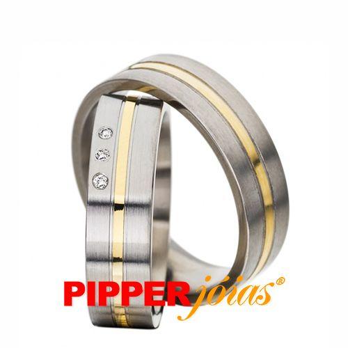 Aliança de Prata com Filete de Ouro 18k - ALM293