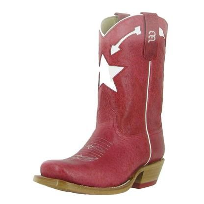 Anderson Bean Western Boots Girls Cowboy Kids Star Arrow Red K7056