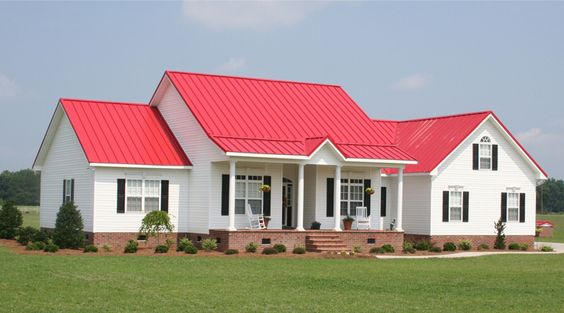 Houses With Red Roofs Metal Roofing For Residential And Commercial Roofs Union Corrugating Red Roof House Farmhouse Exterior Colors Metal Roof Houses