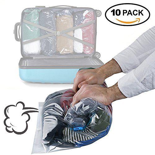 Lot De 10 Sacs De Compression De Rangement Sous Vide A Rouler Double Fermeture Eclair Et Sacs D Emballage S Rangement Sous Vide Stockage De Sac Impermeable