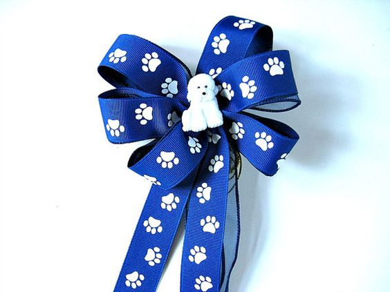 White shaggy dog gift wrap bow/ Dog collar decor/ New pet owner party decoration/ Small gift bow/ Dog bow & ribbon/ Gift wrap bow (DC60)