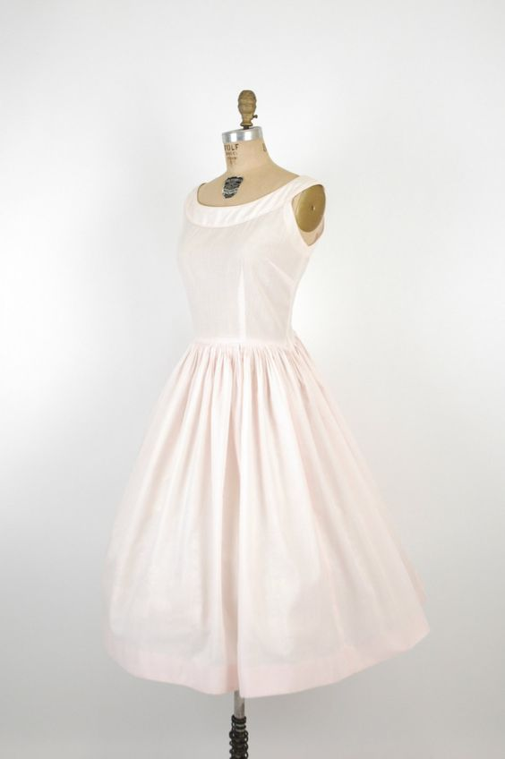 1950s Jerry Gilden Dress / Vintage Pink Cotton Day Dress. $120.00, via Etsy.