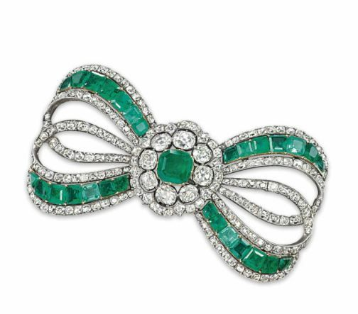 AN ANTIQUE EMERALD AND DIAMOND BROOCH – Christie's