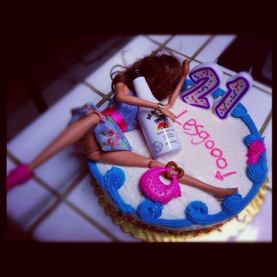 """21st birthday cake hot mess Barbie. """"go hoe or go home!"""""""